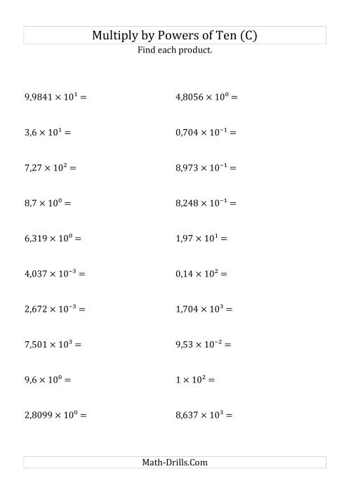 Multiplying Decimals by All Powers of Ten (Exponent Form) (C)