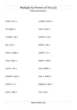 powers of ten worksheets multiplying decimal numbers by powers of ten pointcomma number format