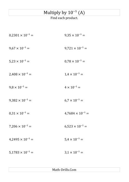 The Multiplying Decimals by 10<sup>-1</sup> (A) Math Worksheet