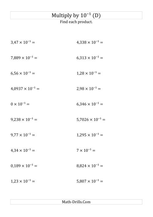 The Multiplying Decimals by 10<sup>-1</sup> (D) Math Worksheet