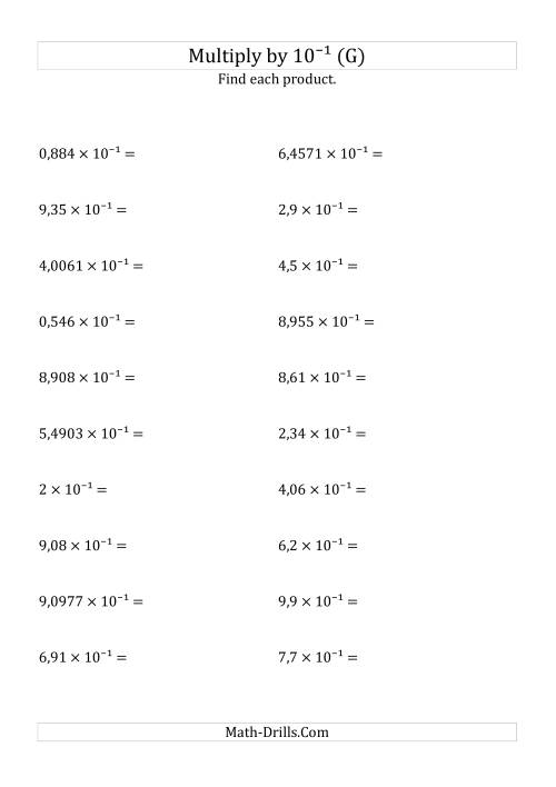 The Multiplying Decimals by 10<sup>-1</sup> (G) Math Worksheet