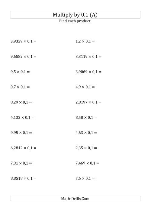 The Multiplying Decimals by 0,1 (A) Math Worksheet