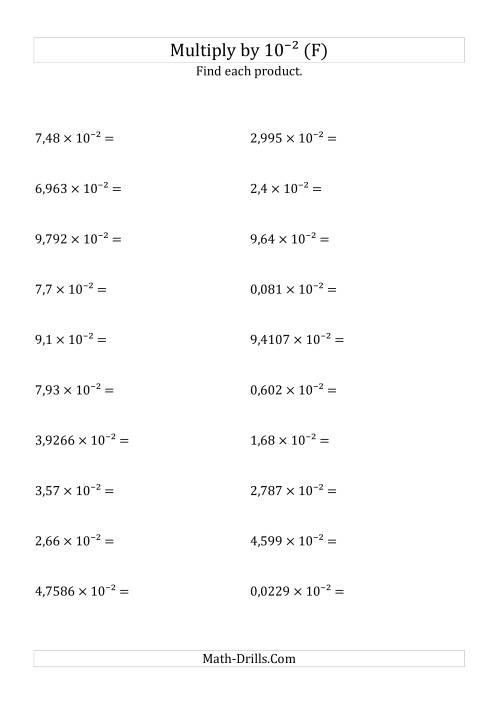 The Multiplying Decimals by 10<sup>-2</sup> (F) Math Worksheet