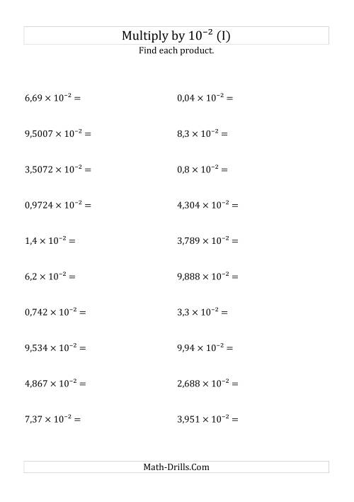The Multiplying Decimals by 10<sup>-2</sup> (I) Math Worksheet