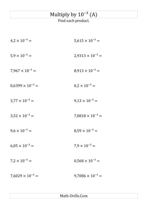 The Multiplying Decimals by 10<sup>-3</sup> (A) Math Worksheet