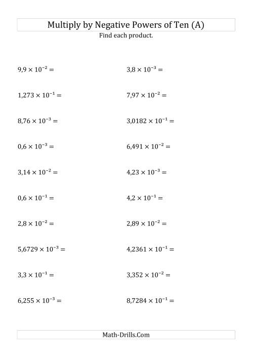 The Multiplying Decimals by Negative Powers of Ten (Exponent Form) (A) Math Worksheet