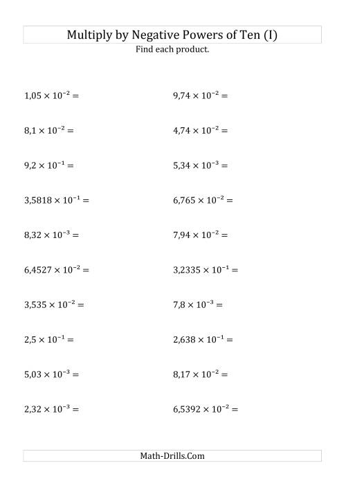The Multiplying Decimals by Negative Powers of Ten (Exponent Form) (I) Math Worksheet