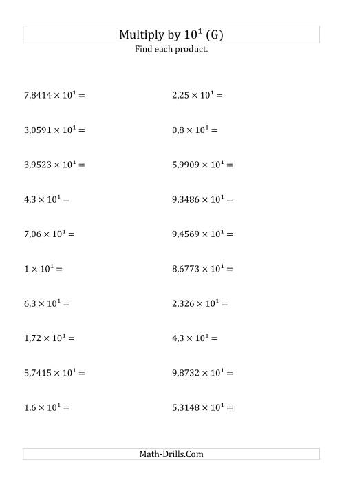 The Multiplying Decimals by 10<sup>1</sup> (G) Math Worksheet