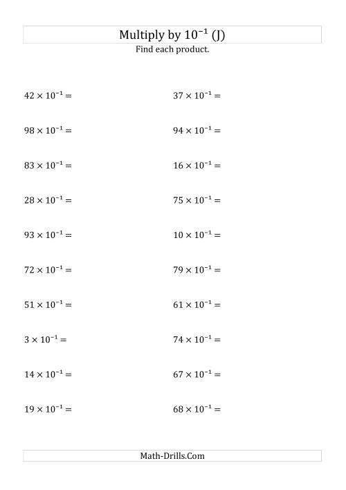The Multiplying Whole Numbers by 10<sup>-1</sup> (J) Math Worksheet
