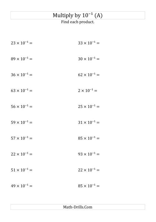 The Multiplying Whole Numbers by 10<sup>-1</sup> (All) Math Worksheet