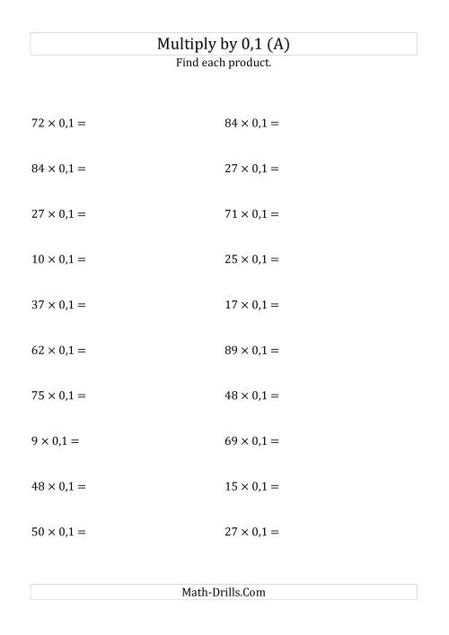 The Multiplying Whole Numbers by 0,1 (A) Math Worksheet