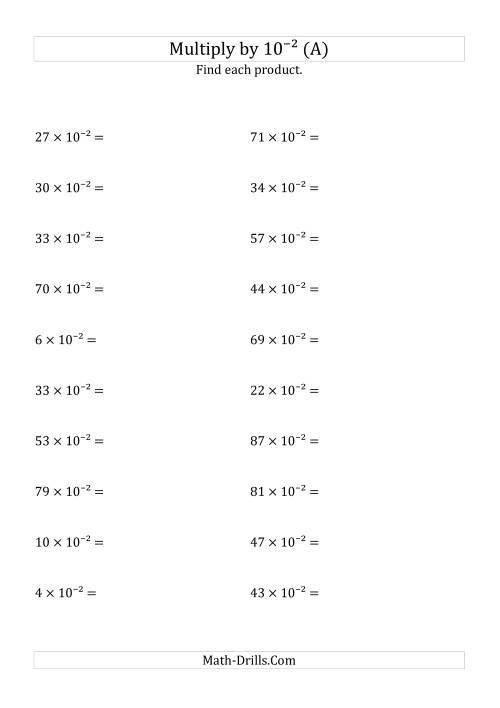 The Multiplying Whole Numbers by 10<sup>-2</sup> (A) European Powers of Ten Worksheet