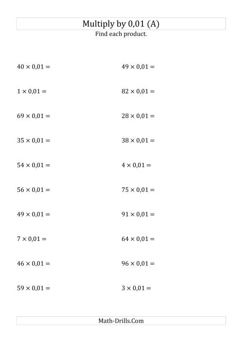 The Multiplying Whole Numbers by 0,01 (A) Math Worksheet