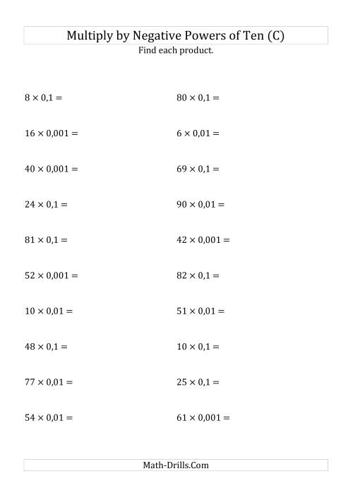 The Multiplying Whole Numbers by Negative Powers of Ten (Standard Form) (C) Math Worksheet