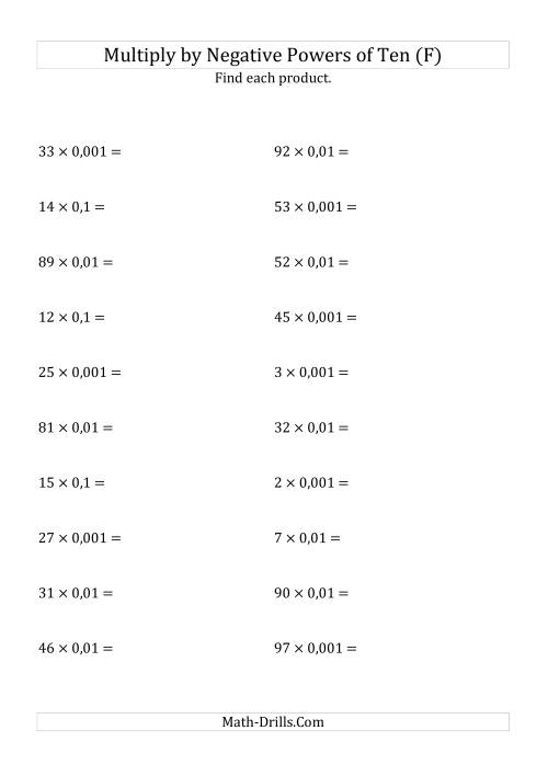 The Multiplying Whole Numbers by Negative Powers of Ten (Standard Form) (F) Math Worksheet