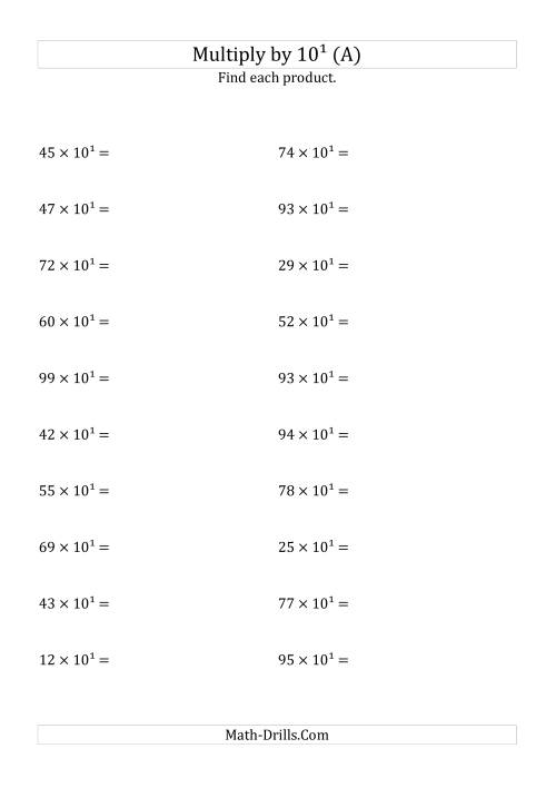 The Multiplying Whole Numbers by 10<sup>1</sup> (All) Math Worksheet