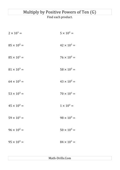 The Multiplying Whole Numbers by Positive Powers of Ten (Exponent Form) (G) Math Worksheet