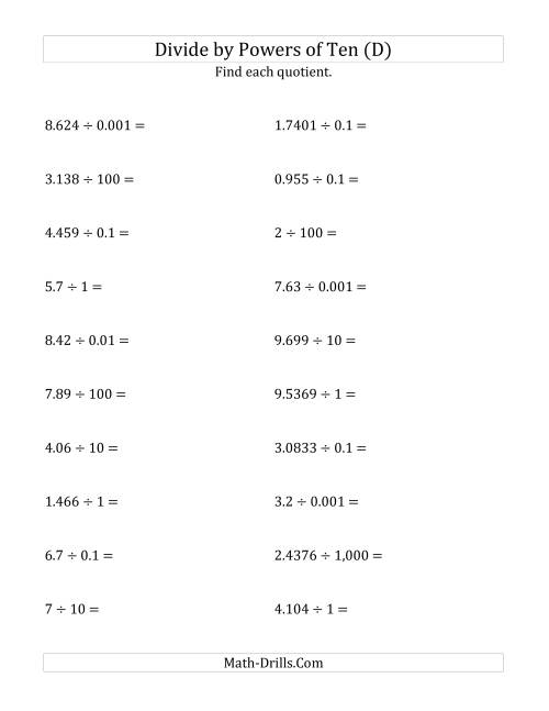 The Dividing Decimals by All Powers of Ten (Standard Form) (D) Math Worksheet