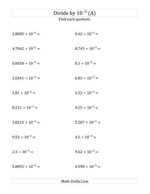 The Dividing Decimals by 10<sup>-3</sup> (A) Math Worksheet