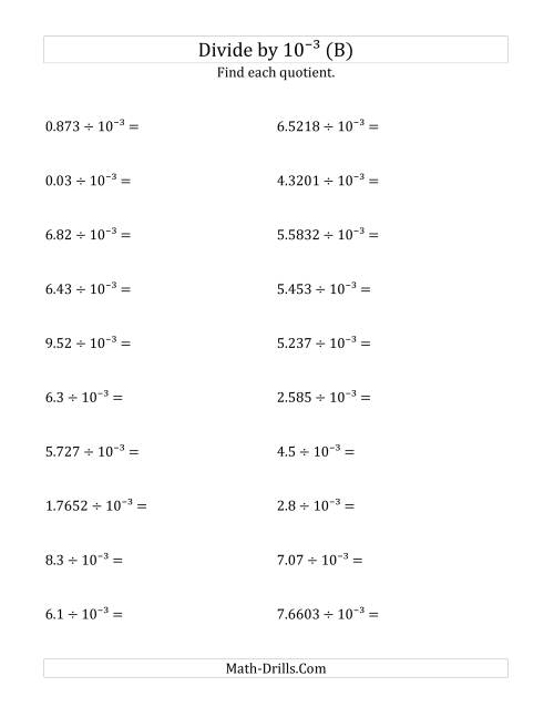 The Dividing Decimals by 10<sup>-3</sup> (B) Math Worksheet