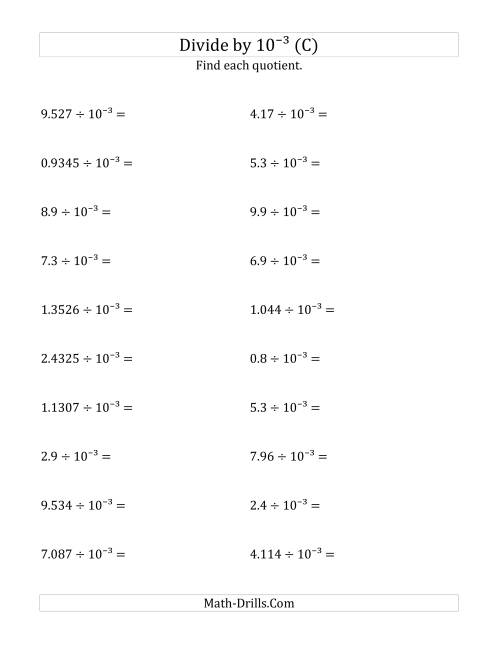 The Dividing Decimals by 10<sup>-3</sup> (C) Math Worksheet