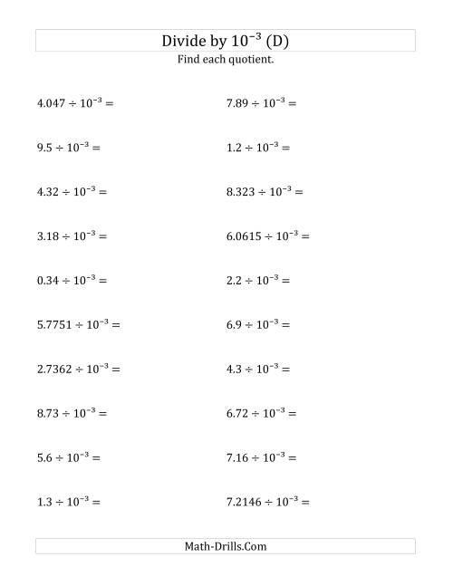 The Dividing Decimals by 10<sup>-3</sup> (D) Math Worksheet
