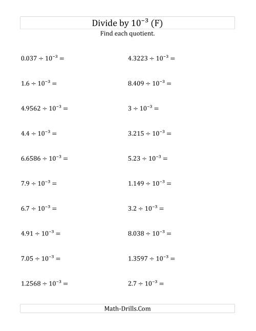 The Dividing Decimals by 10<sup>-3</sup> (F) Math Worksheet