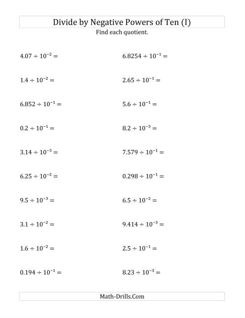 The Dividing Decimals by Negative Powers of Ten (Exponent Form) (I) Math Worksheet
