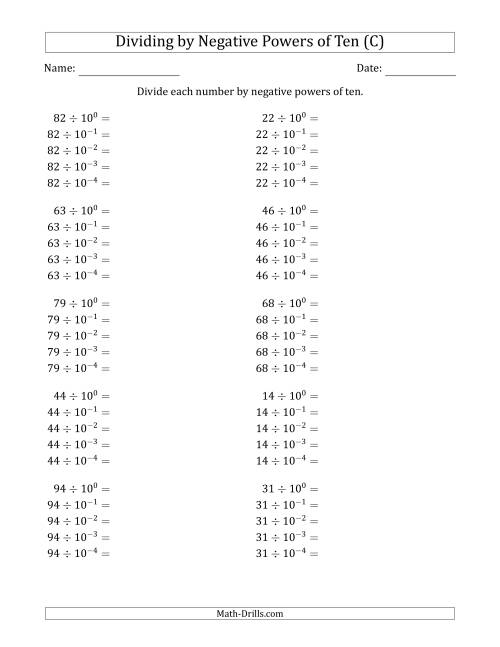 The Learning to Divide Numbers (Range 10 to 99) by Negative Powers of Ten in Exponent Form (C) Math Worksheet