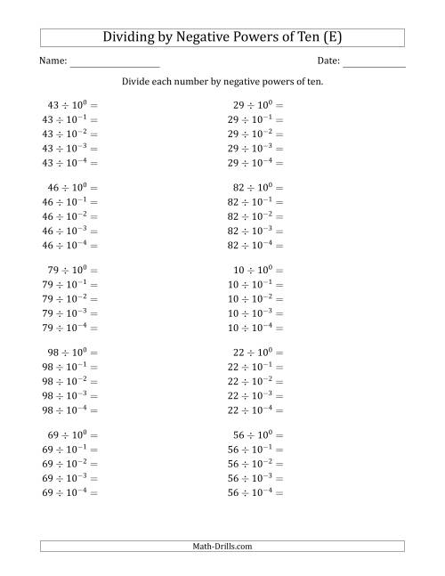 The Learning to Divide Numbers (Range 10 to 99) by Negative Powers of Ten in Exponent Form (E) Math Worksheet