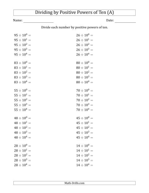 The Learning to Divide Numbers (Range 10 to 99) by Positive Powers of Ten in Exponent Form (All) Math Worksheet