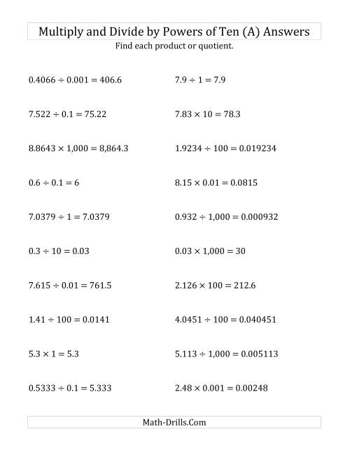 The Multiplying and Dividing Decimals by All Powers of Ten (Standard Form) (A) Math Worksheet Page 2