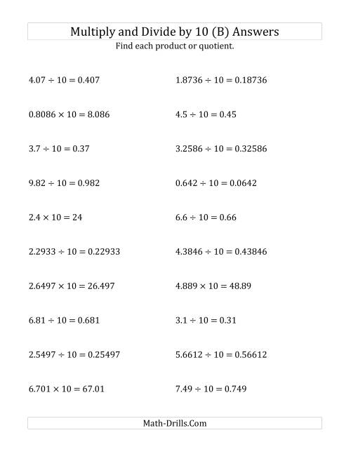 The Multiplying and Dividing Decimals by 10 (B) Math Worksheet Page 2