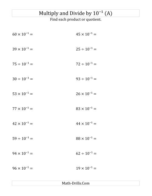 The Multiplying and Dividing Whole Numbers by 10<sup>-1</sup> (A) Math Worksheet