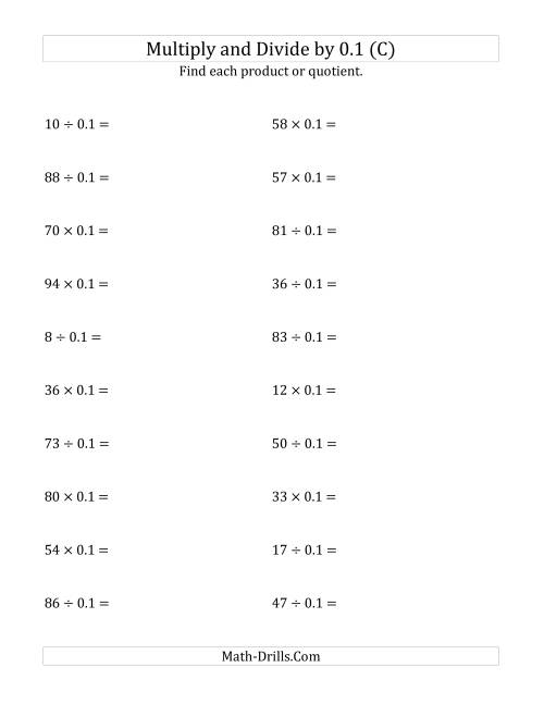 The Multiplying and Dividing Whole Numbers by 0.1 (C) Math Worksheet