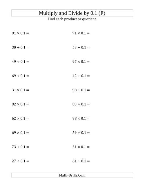 The Multiplying and Dividing Whole Numbers by 0.1 (F) Math Worksheet