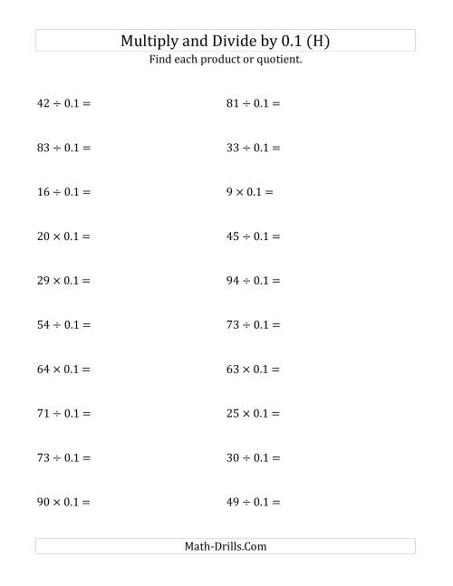 The Multiplying and Dividing Whole Numbers by 0.1 (H) Math Worksheet
