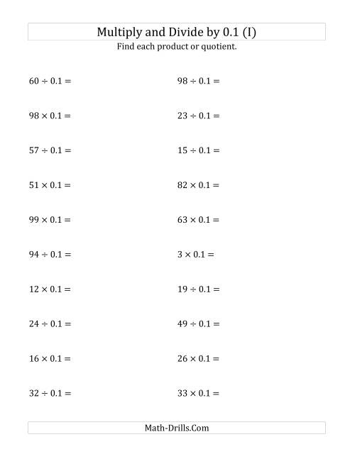 The Multiplying and Dividing Whole Numbers by 0.1 (I) Math Worksheet