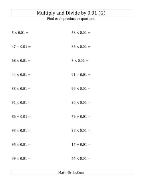 The Multiplying and Dividing Whole Numbers by 0.01 (G) Math Worksheet