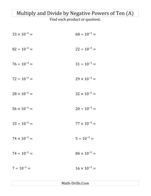 Multiplying and Dividing Whole Numbers by Negative Powers of Ten – Multiplying and Dividing Exponents Worksheet
