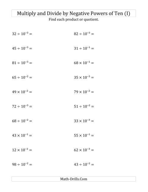 The Multiplying and Dividing Whole Numbers by Negative Powers of Ten (Exponent Form) (I) Math Worksheet