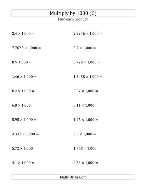 The Multiplying Decimals by 1,000 (C) Math Worksheet