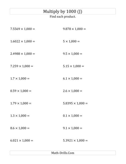 The Multiplying Decimals by 1,000 (J) Math Worksheet