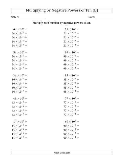 The Learning to Multiply Numbers (Range 10 to 99) by Negative Powers of Ten in Exponent Form (B) Math Worksheet