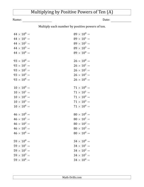 The Learning to Multiply Numbers (Range 10 to 99) by Positive Powers of Ten in Exponent Form (A) Math Worksheet