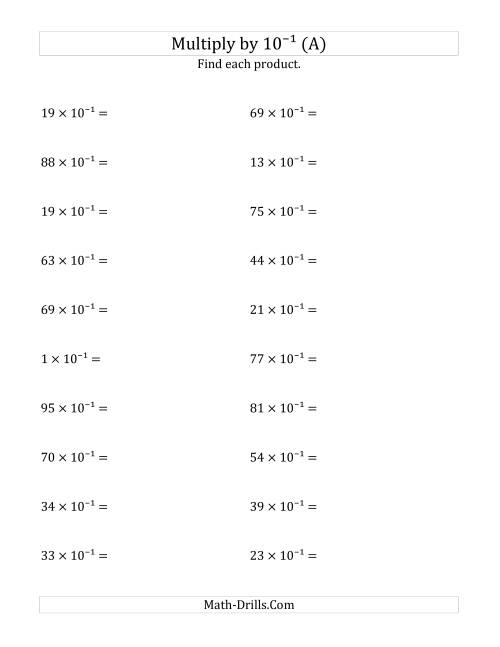 The Multiplying Whole Numbers by 10<sup>-1</sup> (A) Powers of Ten Worksheet