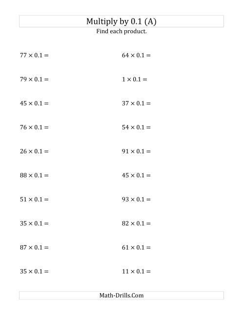 The Multiplying Whole Numbers by 0.1 (A) Math Worksheet