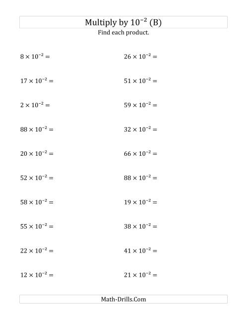 The Multiplying Whole Numbers by 10<sup>-2</sup> (B) Math Worksheet