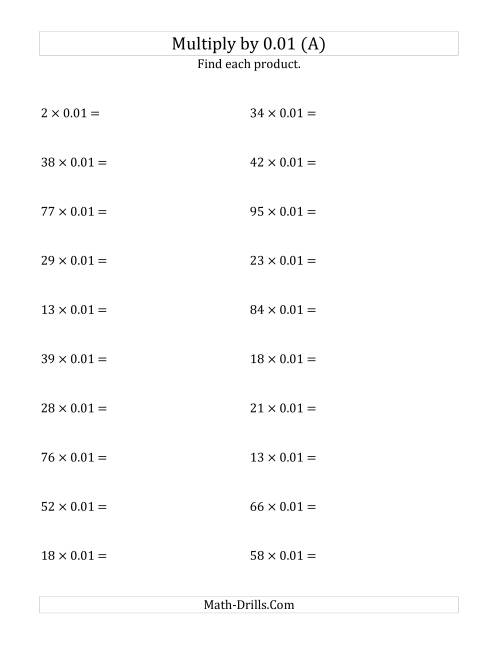 The Multiplying Whole Numbers by 0.01 (A) Math Worksheet