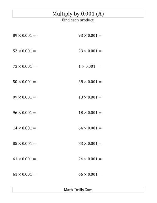 math worksheet : multiplying whole numbers by 0 001 a  : Multiplying Decimals And Whole Numbers Worksheet